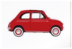 Fiat 500. Classic car limited edition print. #vintage #cars #retro #limited #edition #prints #cinquecento | www.freireprintz.co.uk