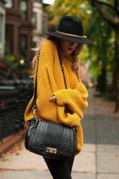 Chunky sweater in mustard- hats are fun, too!
