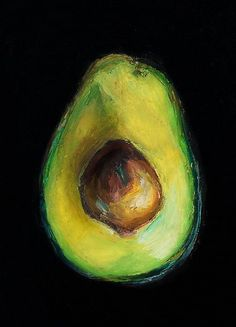 Avocado----Giclee, Archival, Matted Print of an Original Oil Pastel Painting of an Avocado Half with Pit via Etsy #OilPaintingIdeas