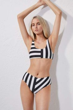 b273e3b5b927f French Connection Block Stripe High Rise Briefs Striped Crop Top, Striped  Bikini, Crop Top