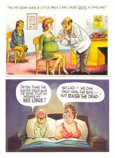 The Saucy Seaside Postcard: A Gallery Of Smut, Sex And Suggestiveness - Flashbak Funny Cartoon Quotes, Funny Cartoon Pictures, Cartoon Jokes, Funny Cartoons, Funny Photos, Funny Jokes, Funny Happy Birthday Messages, Funny Birthday Cards, Lovely Good Morning Images