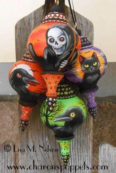 Art: Halloween Folk Art Ornaments by Artist Lisa M. Nelson