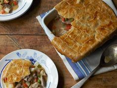 Turkey Pot Pie leftovers!  Made in a square 8x8 pan.... Could use less broth or add cornstarch. Needed to bake at least 45 min or more.  Delicious