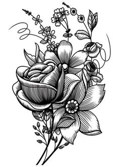 tattoo flowers sketch - Buscar con Google