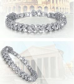 Item Specifics: Material: Copper, Zircon, Rhinestone Color: Silver Gender: Women Length: About Width: About Weight: About Package Includes: 1 x Bracelet Great present for your love ones. Silver Plate, Roman, Copper, Free Shipping, Chain, Bracelets, Jewelry, Fashion, Moda