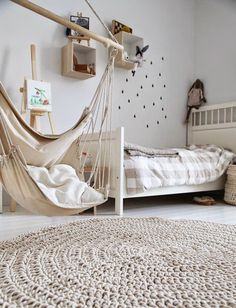 neutral + cozy kid's room with gingham and wovens // via coco kelley
