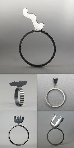 Rita Rodner uses silver patina to her decorational advantage, creating stripes and other designs on her geometric jewellery. September 2014 | The Carrotbox modern jewellery blog and shop — obsessed with rings