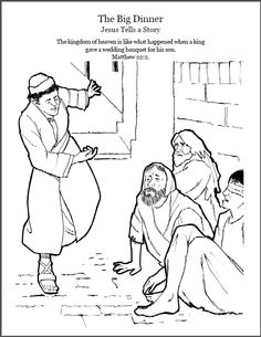 The Parable of The Big Dinner.  Coloring page, script and audio story. http://kidscorner.reframemedia.com/bible/stories/the-big-dinner/