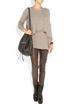 RICK OWENS  Paneled leather leggings-like this look