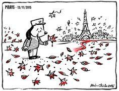 Alain CHICHE - Auteur illustrateur Feuilles mortes. L'horreur et la barbarie frappent à nouveau dans ma ville, au pied de chez moi, à Paris. Les fanatiques visent notre mode de vie, la culture, le vivre ensemble, la mixité, la laïcité, dans une ville cosmopolite et métissée. Je ne peux qu'exprimer ma tristesse et mon dégoût et continue, plus que jamais, à croire en la vie. Mon personnage préféré est à nouveau en deuil.