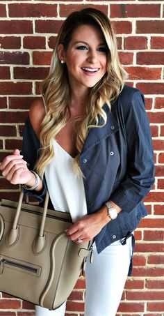 #summer #outfits  Black Jacket + White Tank + White Skinny Jeans