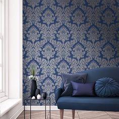 Pear Tree Glitter Damask Wallpaper Blue / Silver UK10457