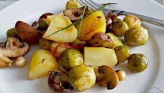 Eenpansgerecht met spruitjes, champignons, spek en krieltjes – Anja's Foodblog Potato Salad, Veggies, Potatoes, Yummy Food, Fruit, Ethnic Recipes, Om, Food Ideas, Drinks