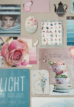 Pink, burlap and duck-egg blue mood board
