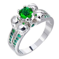SMILE PunkPromise Ring Vintage Anel White Gold Filled Emerald Zircon... ($39) ❤ liked on Polyvore featuring jewelry, rings, emerald wedding rings, stone rings, white gold rings, skull wedding rings and white gold emerald ring