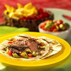 Jamaican Jerk Beef Wraps with Avocado Salsa Recipe by Canadian Beef Wrap Recipes, Beef Recipes, Beef Wraps, Sirloin Tips, Spicy Salsa, Hot Pepper Sauce, Grilled Beef, Salsa Recipe