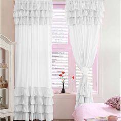 Navy Blue Blackout Waterfall Window Ruffle Curtains 100