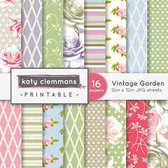 VINTAGE GARDEN digital paper pack Roses floral by KCPrintables, $4.50