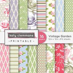VINTAGE GARDEN digital paper pack Roses floral by KCPrintables, $4.50