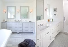 It's okay to have a window on the sink wall, just offset the sink and put a mirror above. Custom Home Builders, Custom Homes, Co Design, Design Ideas, Modern English, Kitchen And Bath, Master Bathroom, Architecture Design, Bathrooms