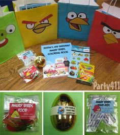 Angry birds party favors - gummy worms, band aids and golden eggs