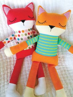 """This adorable sleepy fox softie is very easy to make. The fox is 16 1/2"""" across with arms outspread and he is 18"""" tall. He is created from fleece and cotton fabrics which make him soft and cuddly."""