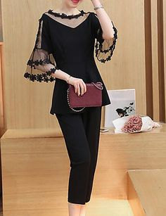 Women's Casual/Daily Work Party Sexy Cute Street chic Spring Summer Blouse Pant SuitsSolid Round Neck 1/2 Length Sleeve Lace 5936954 2017 – $21.59