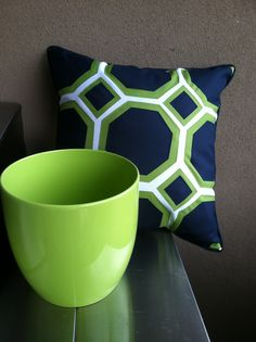 Outdoor patio pillow and pot. Lime Green & Navy Blue from Home Goods. Did you even know lime green is my favorite?!