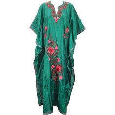 Boho Kaftan Kashmiri Embroidered Dark Green Silk Caftan Lounger Dress... ($58) ❤ liked on Polyvore featuring dresses, silk caftan, caftan dress, blue dress, bohemian dress and bohemian wedding dress