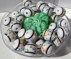 20mm White Confetti Striped bubble gum chunky by SofiasCottage, $2.75