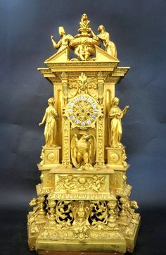 SOLD $18,000 - Palatial French Louis Philippe Ormolu Mantle Clock 33''