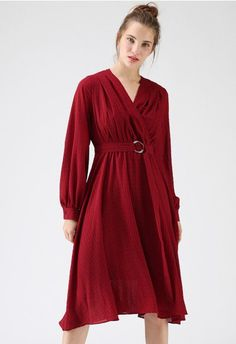 Can't Let Go Bubble Sleeves Wrap Dress in Red