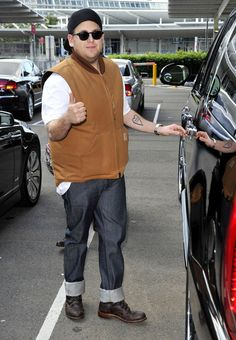 Jonah Hill gives a thumbs up to the Carhartt Arctic Quilt Vest! Available at http://mammothworkwear.com/carhartt-workwear/carhartt-jackets/carhartt-duck-vest-arcticquilt-lined-p1757.htm