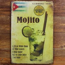 Mojito Cuba Cuban Cocktail vintage tin signs retro metal sign iron plate painting the wall decoration for bar cafe home club pub(China (Mainland))