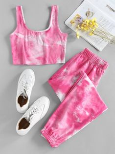 ZAFUL U Neck Tie Dye Two Piece Set Cute Lazy Outfits, Teenage Outfits, Crop Top Outfits, Outfits For Teens, Stylish Outfits, Cool Outfits, Girls Fashion Clothes, Teen Fashion Outfits, Retro Outfits
