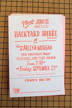 Hand Lettered and Letterpressed Neon Invites by Ladyfingers Letterpress | Design.org