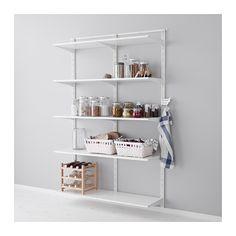 IKEA - ALGOT, Wandrail/plank/driedubbele haak, De onderdelen van de ALGOT serie kunnen op diverse manieren worden gecombineerd en zijn daardoor eenvoudig aan te passen aan de behoefte en de ruimte.De consoles, planken en acccessoires hoef je alleen maar op hun plaats te klikken. Daardoor is het heel eenvoudig om je opbergoplossing te monteren, aan te passen en te veranderen.Geschikt voor gebruik in het hele huis, zelfs in vochtige ruimtes zoals de badkamer of op overdekte balkons.