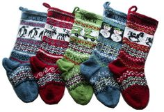 Personalized knitted Christmas Stockings Set of 5 - Hand knitted to order CIJ ChristmasinJuly discount via Etsy Personalized Knit Christmas Stockings, Knitted Christmas Stockings, Knit Stockings, Christmas Knitting, Knitting Socks, Hand Knitting, Knitting Patterns, 1st Christmas, Christmas And New Year