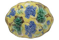 Antique Majolica Floral Platter