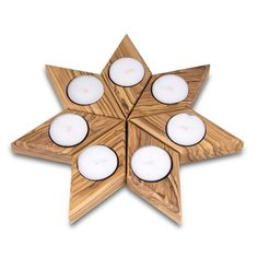 Star: Olive Wood 7 Piece Tealight Candle Holder Set | Judaica Web Store