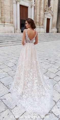 Beautiful Wedding Dresses Lace My new favorite wedding gown. I love the lace and the low v back. Very classy Wedding Dresses Lace My new favorite wedding gown. I love the lace and the low v back. Very classy Cute Wedding Dress, Wedding Dresses 2018, Princess Wedding Dresses, Bridal Dresses, Modest Wedding, Backless Wedding, Blush Lace Wedding Dress, Trendy Wedding, Rustic Wedding