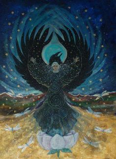 Carl Jung associated the raven with our shadow, that part of our psyche that we refuse to see or acknowledge. When we contemplate raven energy, we can tap into the courage to hold all of ourselves in awareness. The shadow contains the energy that we need Fantasy Sphere, Fantasy Art, Crow Art, Raven Art, Animal Medicine, Power Animal, Crows Ravens, Red Books, Animal Totems