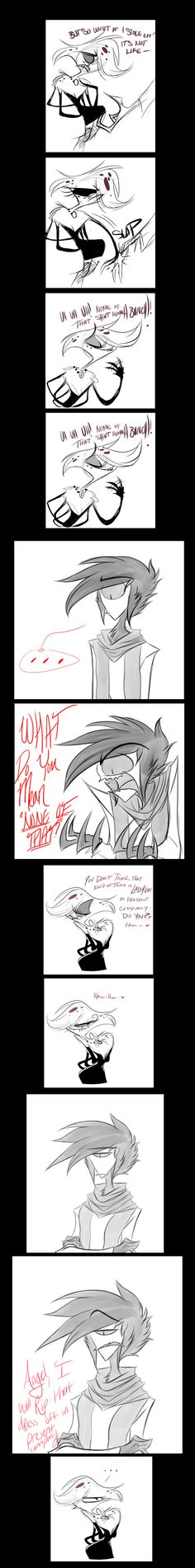 Vivziepop's Comic: Angel & Tyco (Faust's) Part 2  Found @:  http://zikkafriday.tumblr.com/post/58589516391/zoophobiacrazies-pill-dickles