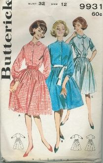 An original ca. 1960's Butterick Pattern 9931.  (A) Full skirted shirtdress with front buttoned bodice, small flat collar, set in long sleeves, barrel cuffs, purchased belt.  (B) Standing band collar, below-elbow sleeves, contrast tie belt.  (C) Short sleeved version with small flat collar, self belt.