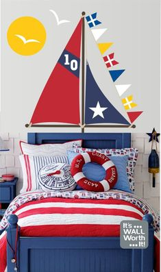 Sailboat Sails Vinyl Wall Decal – Boy's or Girls's Bedroom Wall Decal Sailboat Sails Vinyl Wall Decal Boy's Bedroom by ItsWallWorthIt The post Sailboat Sails Vinyl Wall Decal – Boy's or Girls's Bedroom Wall Decal appeared first on Homemade Crafts. Girl Bedroom Walls, Wall Decals For Bedroom, Vinyl Wall Decals, Bedroom Decor, Bedroom Ideas, Wall Mural, Boys Nautical Bedroom, Nautical Bedding, Cool Bedrooms For Boys