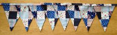 Blue Patchwork Effect Fabric Bunting by MollyFelicityDesigns, £10.00 - also available in Pink