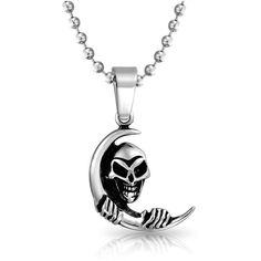Bling Jewelry Bling Jewelry Cresent Moon Grinning Skull Pendant Steel... ($21) ❤ liked on Polyvore featuring men's fashion, men's jewelry, men's necklaces, grey, mens necklaces, mens beaded necklaces, mens ball chain necklace, mens pendant necklace and mens stainless steel pendants