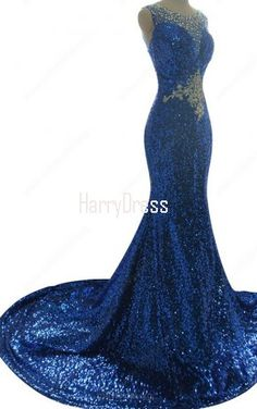 Scoop Neck Royal Blue Tulle Sequined Court Train Crystal Trumpet Mermaid  Long Prom Dress