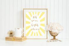 Let your light shine, Nursery Decor, Nursery Art, 8 x 10, 11 x 14, INSTANT DOWNLOAD, Glitter Art, Inspirational Art, Inspirational Quote Art by CottageArtShoppe on Etsy