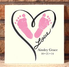 Heart Outline Plaque. Turn your child's precious hand and footprints into personalized keepsakes that are sure to be cherished for many years to come!! Simply capture your prints on paper (we recommend using our Ink-less Print Kit), and we will do the rest! www.myforeverprints.com
